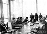 Presidente João Goulart em reunião com o ministério presidencialista. Jan 1963.