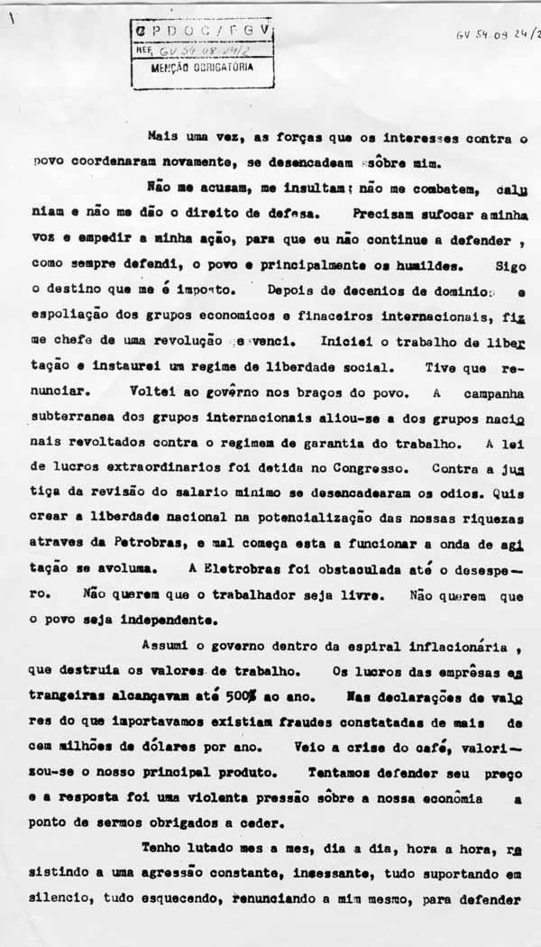 Carta-testamento (cópia datilografada) divulgada imediatamente após o suicídio de Vargas, em 24 de agosto de 1954. (GV c 1954.08.24/2)