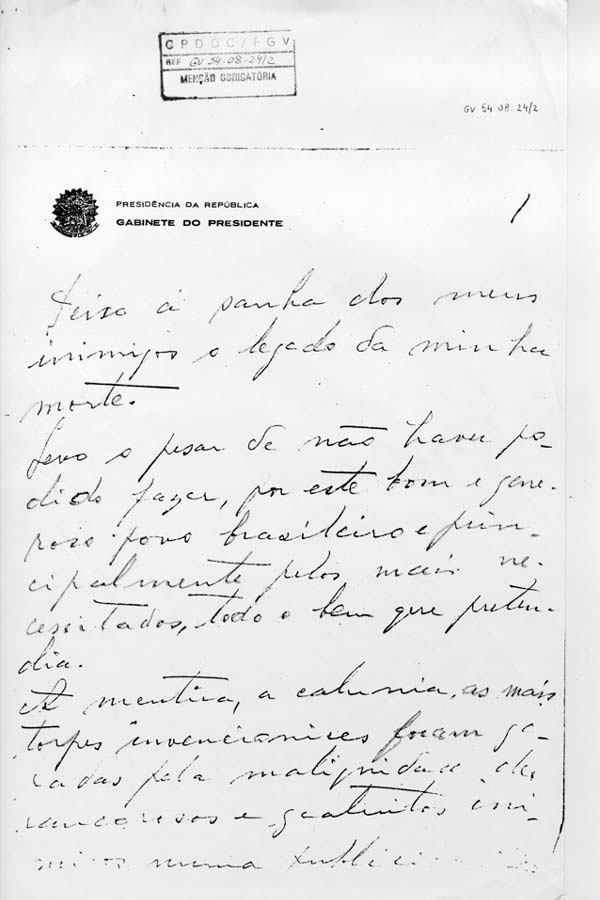 Carta-testamento (cópia manuscrita e assinada) divulgada muitos anos após o suicídio de Vargas.(GV c 1954.08.24/2)