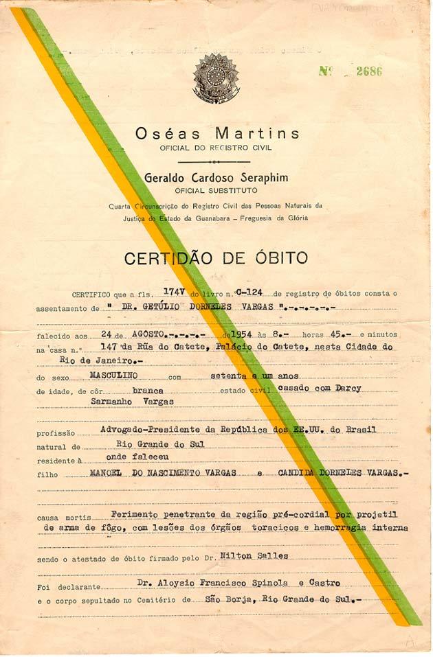 Atestado do óbito de Getúlio Vargas, de 24 de agosto de 1954. (GC rem. sup.2 1934.02.02)